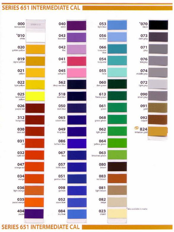 vinyl color selection chart - Plexiglas Color